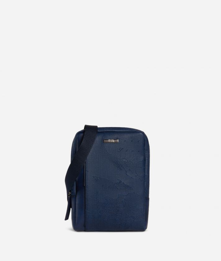 Crossbody bag in canvas with map imprint Blue