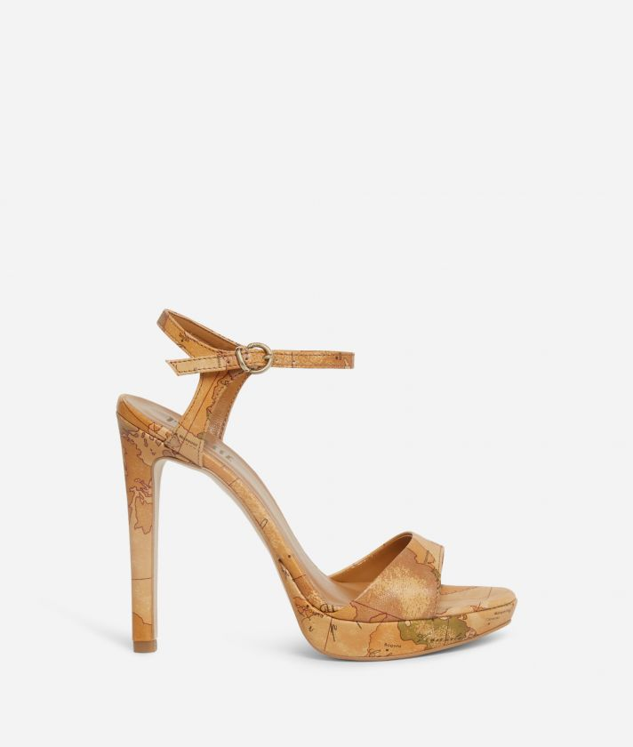 High-heel sandals in Geo Classic print nappa