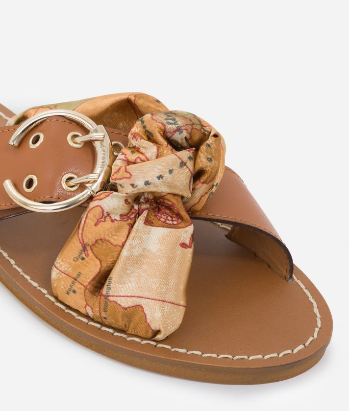 Sandals Positano in smooth leather Marroni