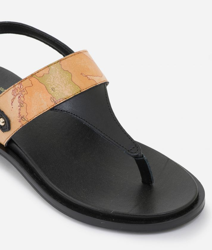 Thong sandals in smooth leather Neri