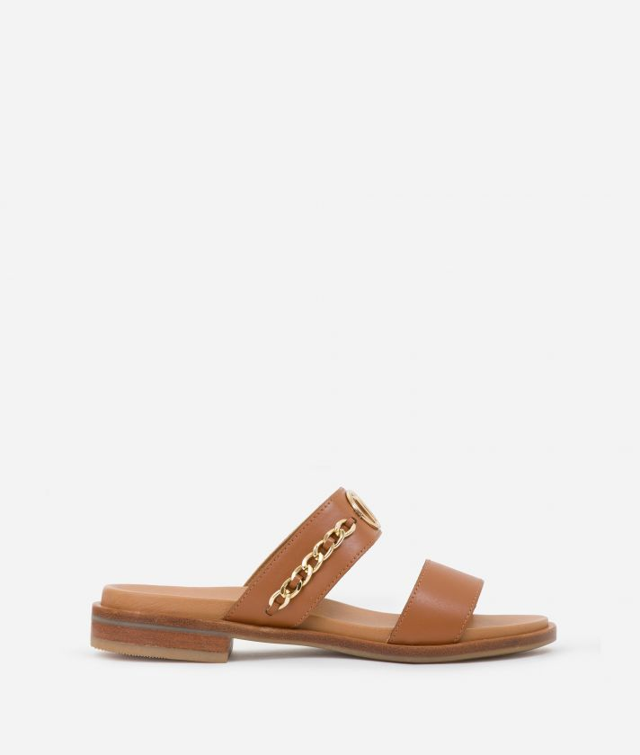Thong sliders in smooth leather with chain detail Brown
