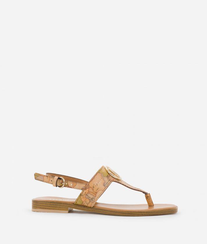 Thong sandals squared toe in Geo Classic print nappa
