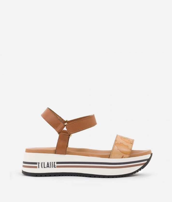 Sandals in smooth leather and Geo Classic details Brown