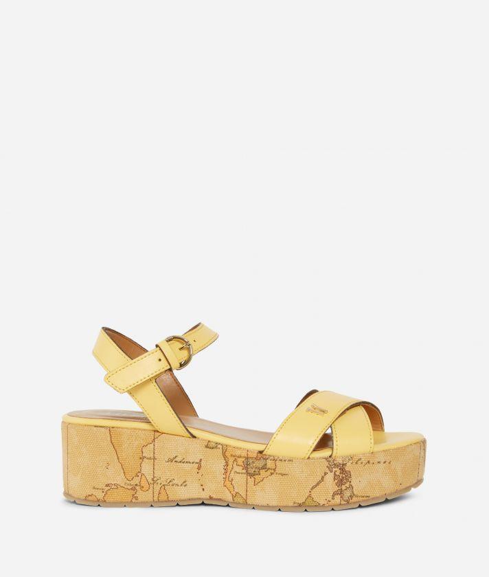 Sandali punta squadrata in pelle liscia Gialli