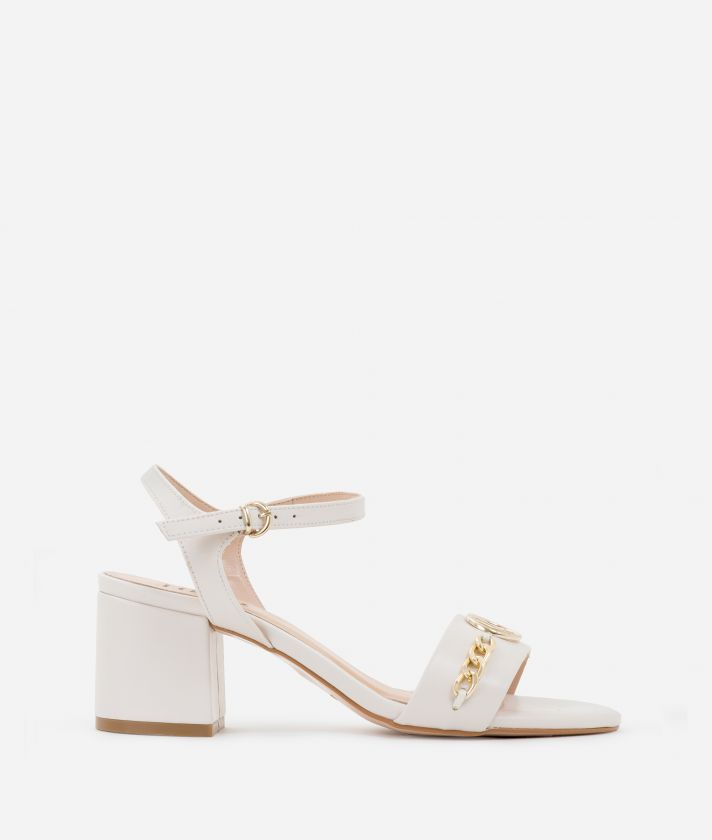 High-heel sandals in smooth leather White