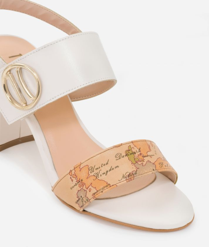High-heel sandals with maxi logo 1C White