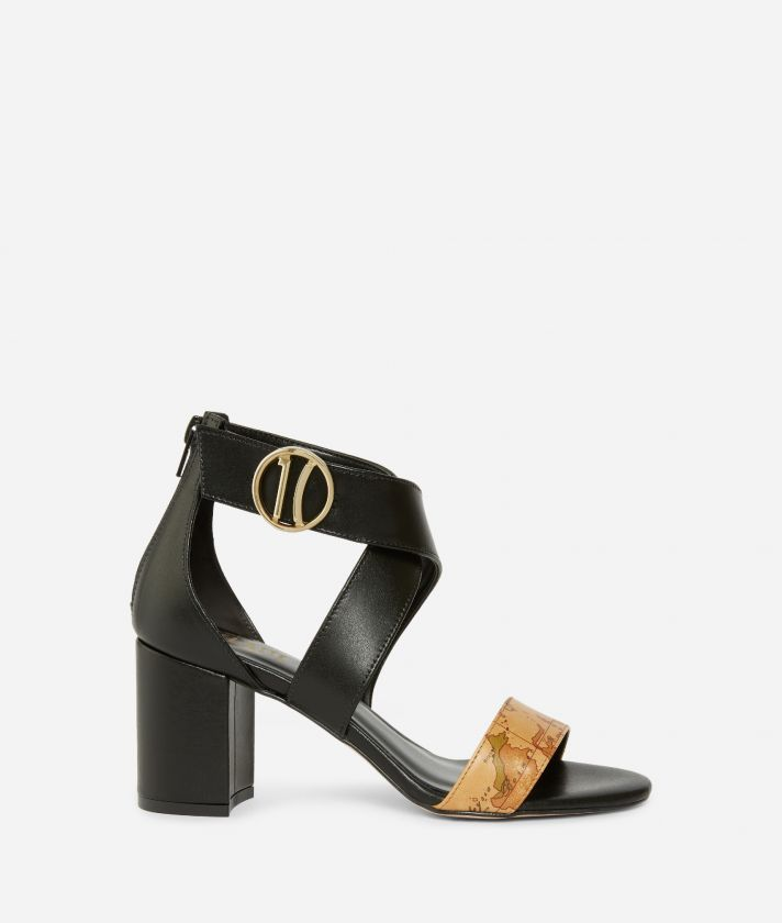 Sandals with maxi logo 1C in smooth leather Black