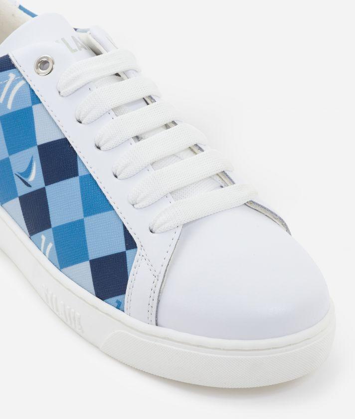 Sneakers 1C Sails in saffiano checkerboard print fabric Blue