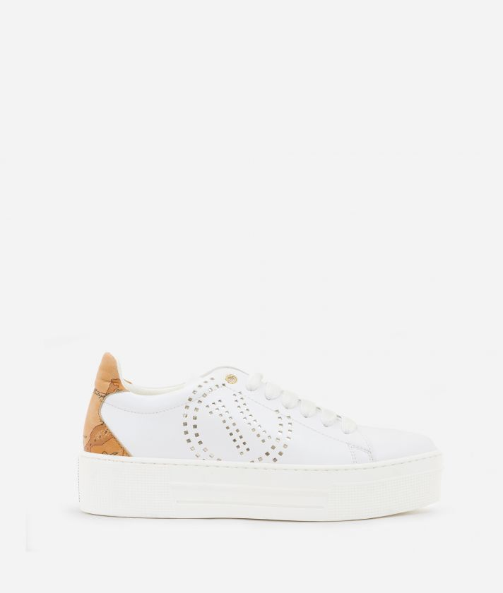 Sneakers with 1C logo  in eco-leather White
