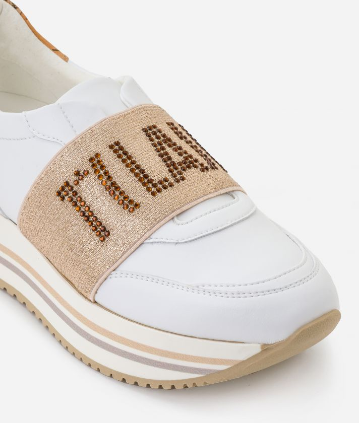 Sneakers with lurex elastic band in eco-leather White