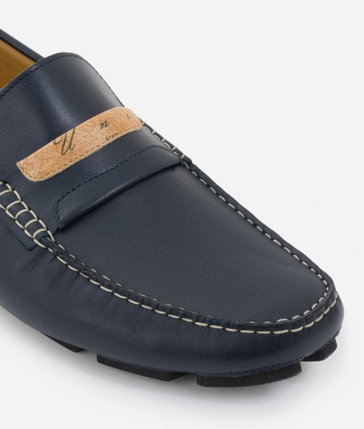 Man Moccasins in smooth leather Blu