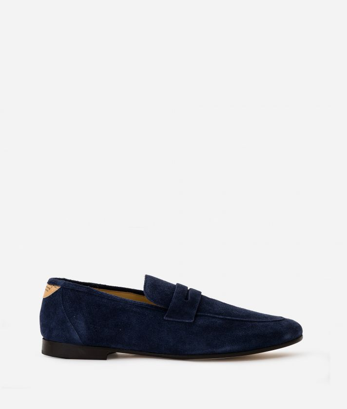 Man Moccasins in suede leather Blu