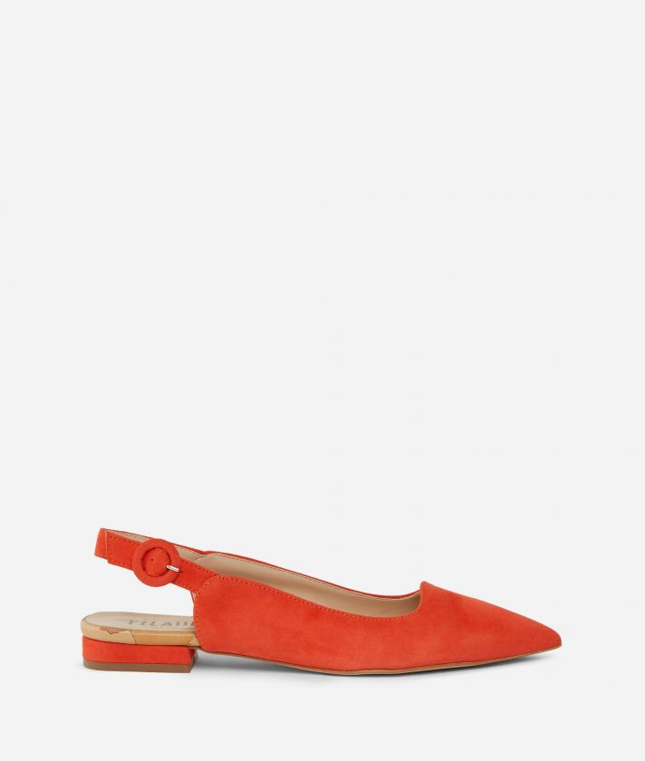 Exclusive Online Slingback in suede leather Red