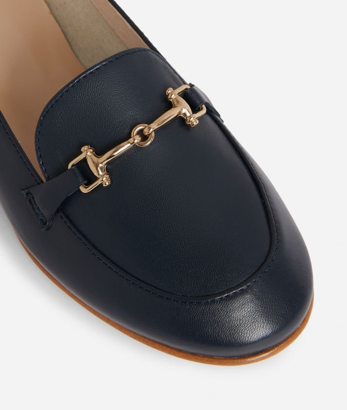 Exclusive Online Moccassin with horsebit in smooth leather Blue