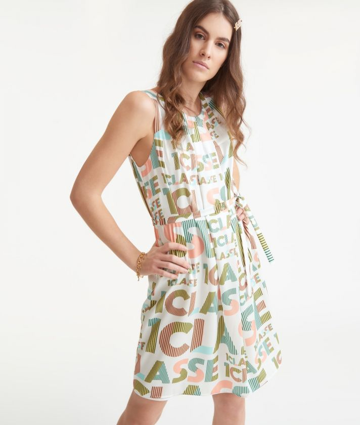Dress with belt in twill with lettering print White