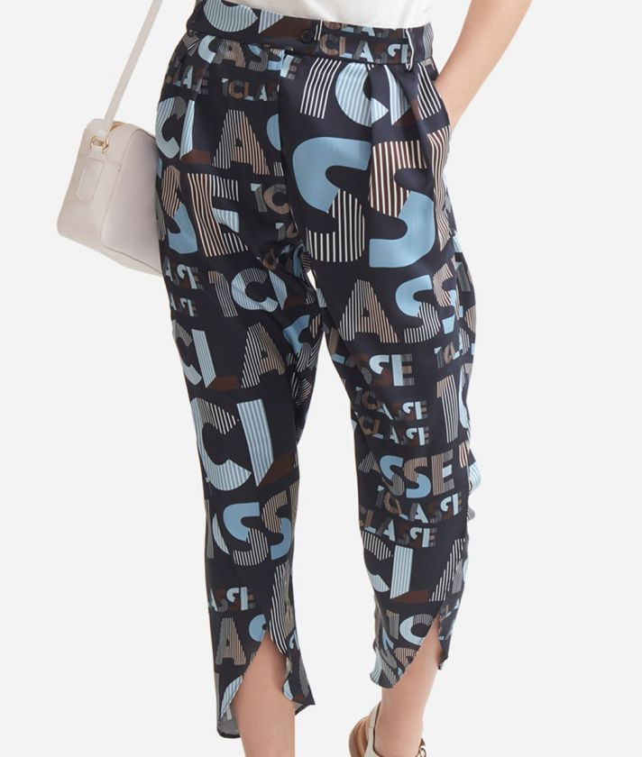 Pareo trousers in twill with lettering print Blue