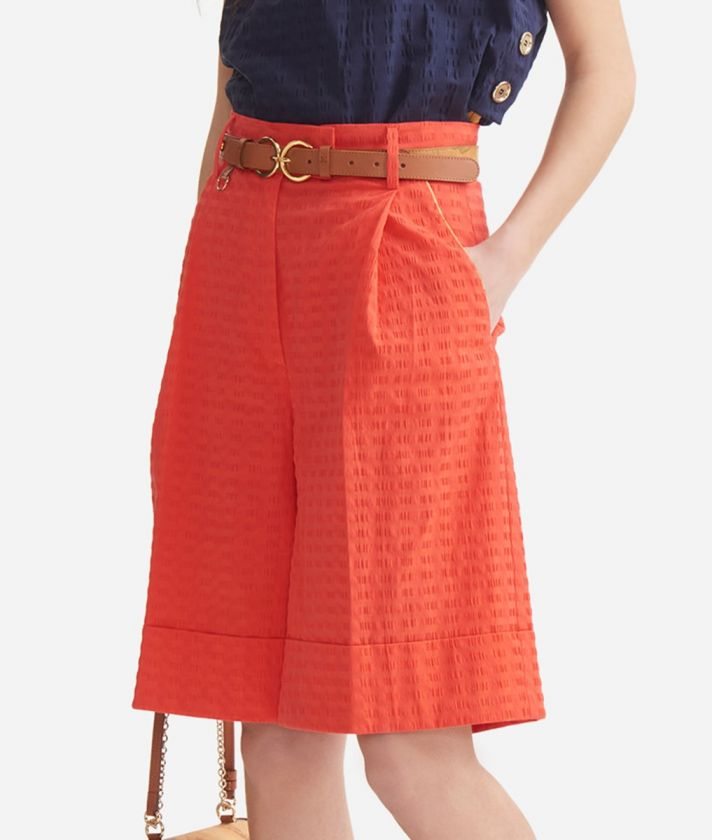 Bermuda shorts in cotton Red
