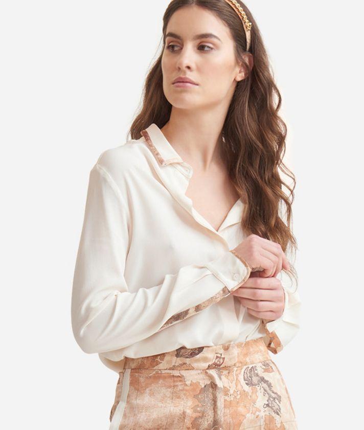 Flowing shirt in crêpe de chine White