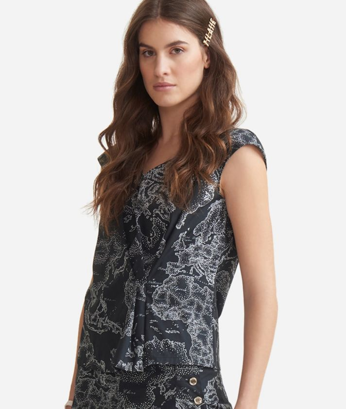 Top with Geo micro pois print Black anche White