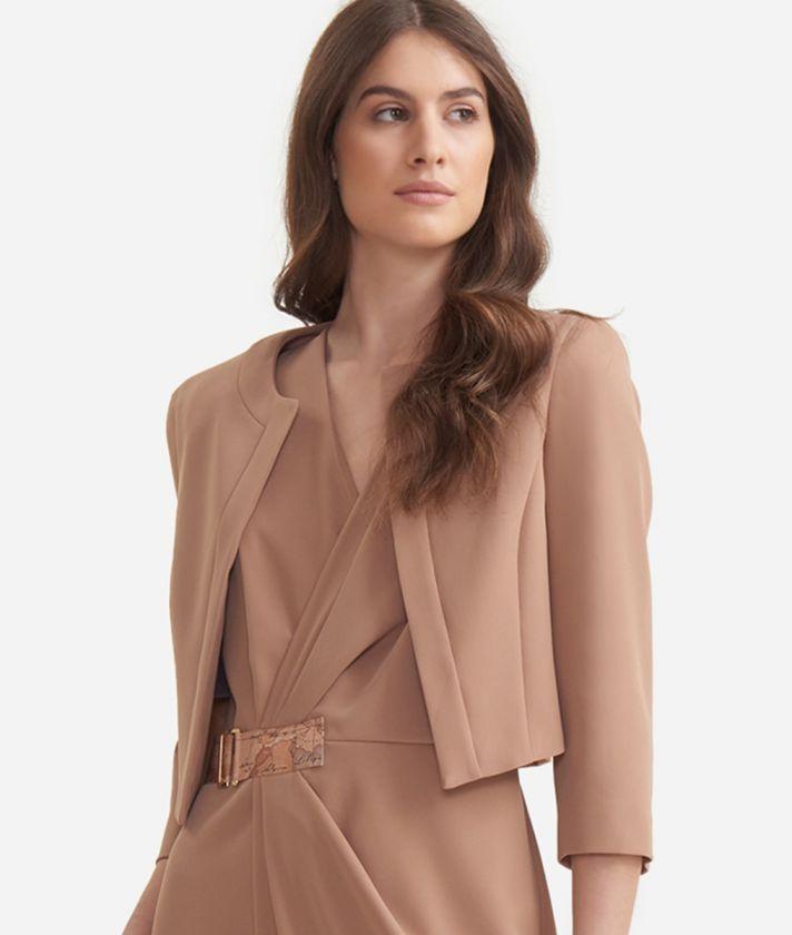 Bolero jacket in fluid fabric Beige