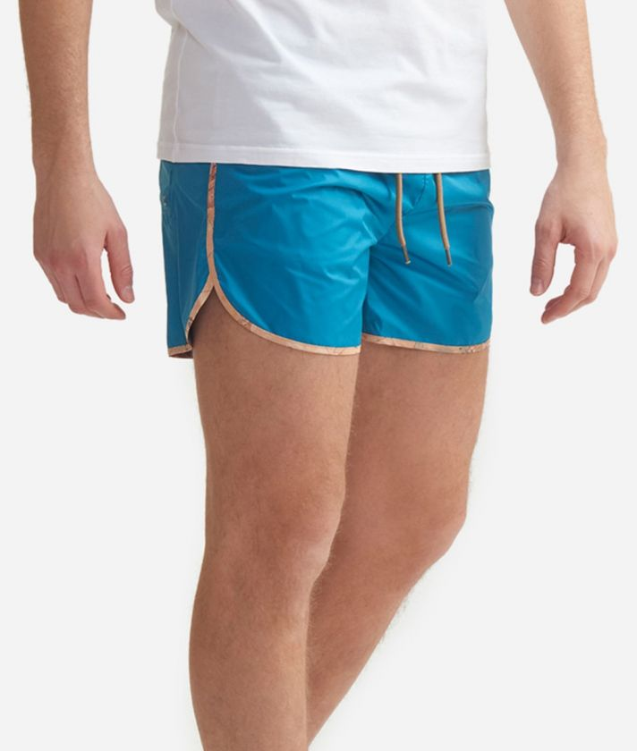 Short beach boxer with Geo Classic details Petrol Green