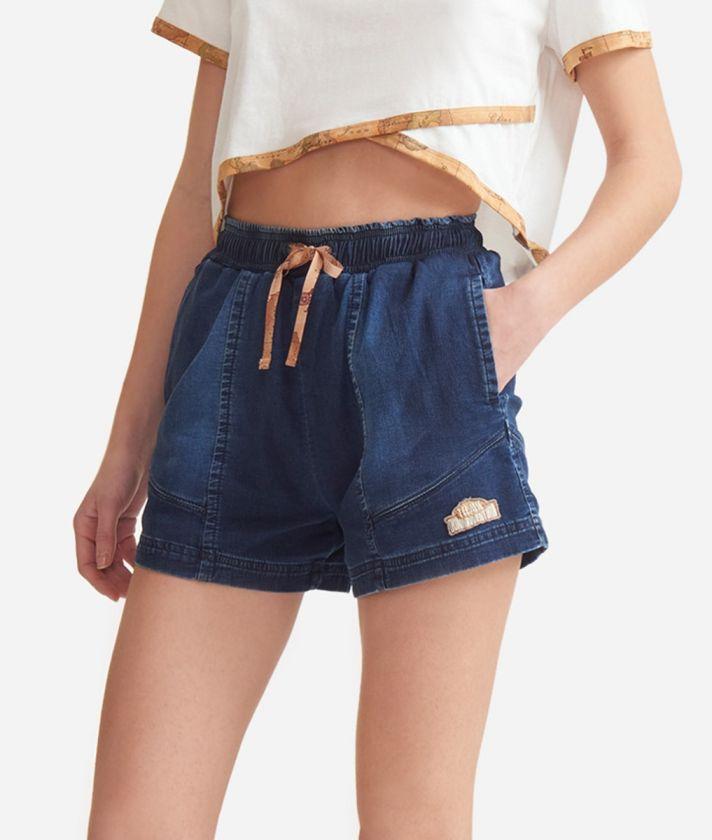Shorts in denim fleece Blue