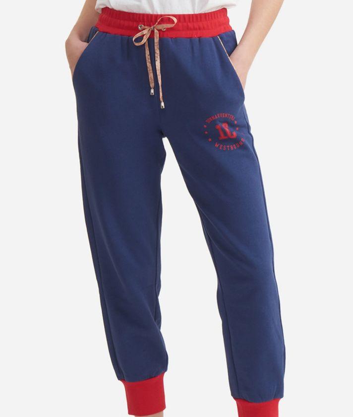 Jogging pants in cotton fleece Blue