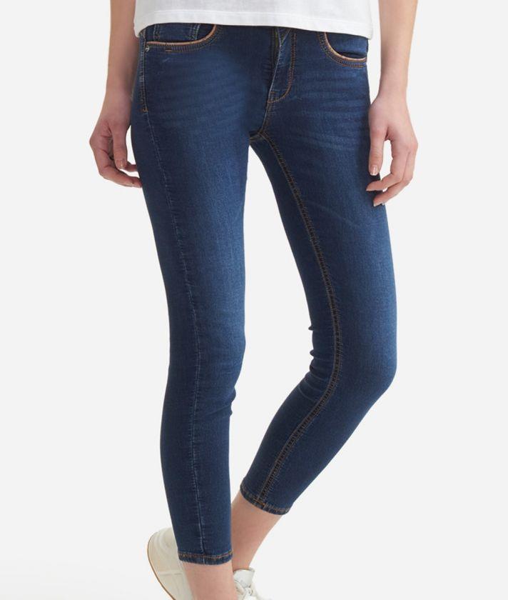 5-pockets pants in denim fleece Blue