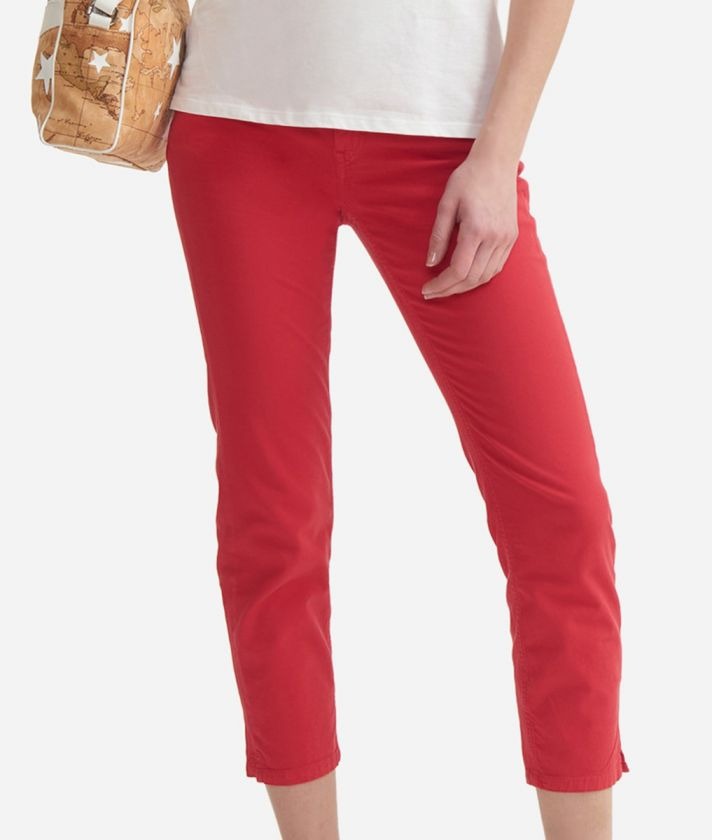 5-pockets capri pants in stretch cotton Red