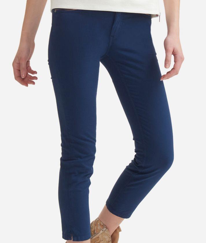 5-pockets capri pants in stretch cotton Blue