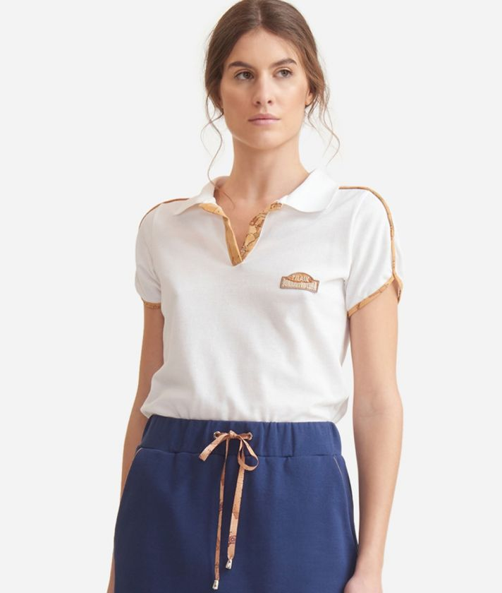 Polo with Geo Classic details in piquet cotton White