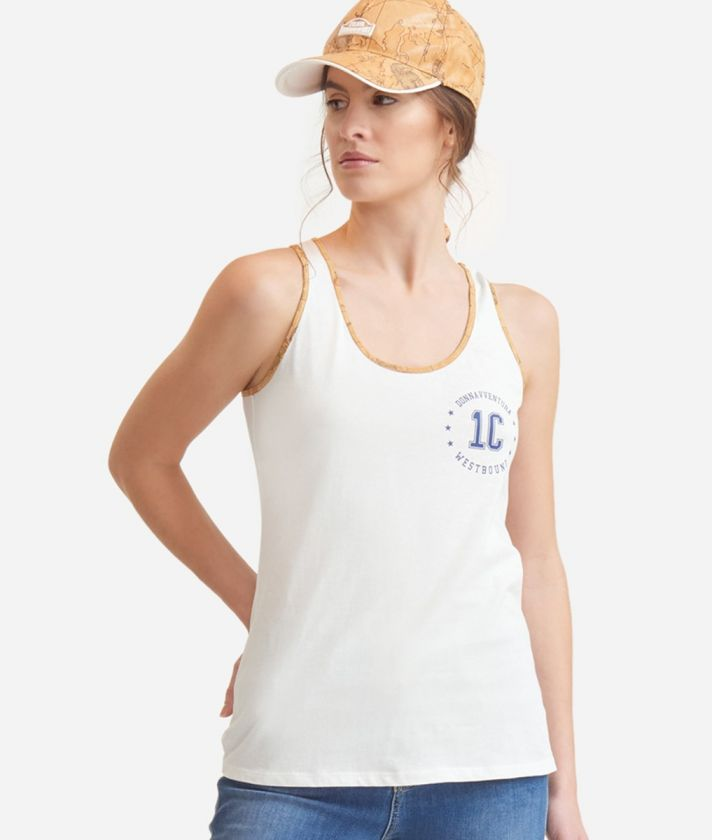 Tank top in jersey cotton White