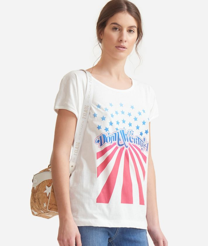 T-shirt with American flag print in jersey cotton White