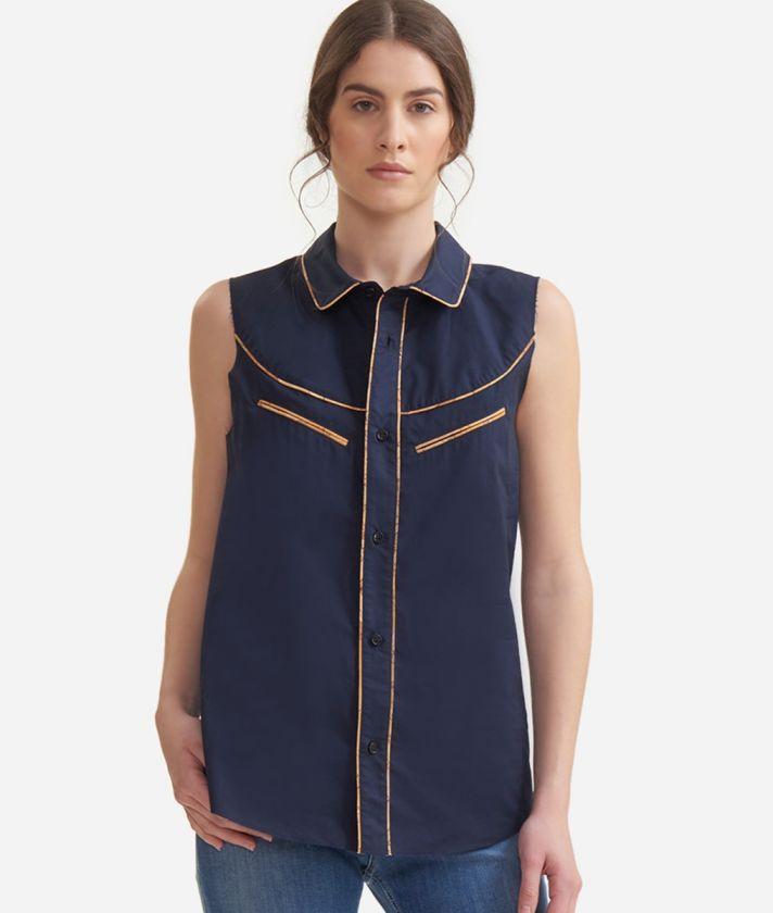 Rodeo sleeveless shirt in crisp cotton poplin Blue