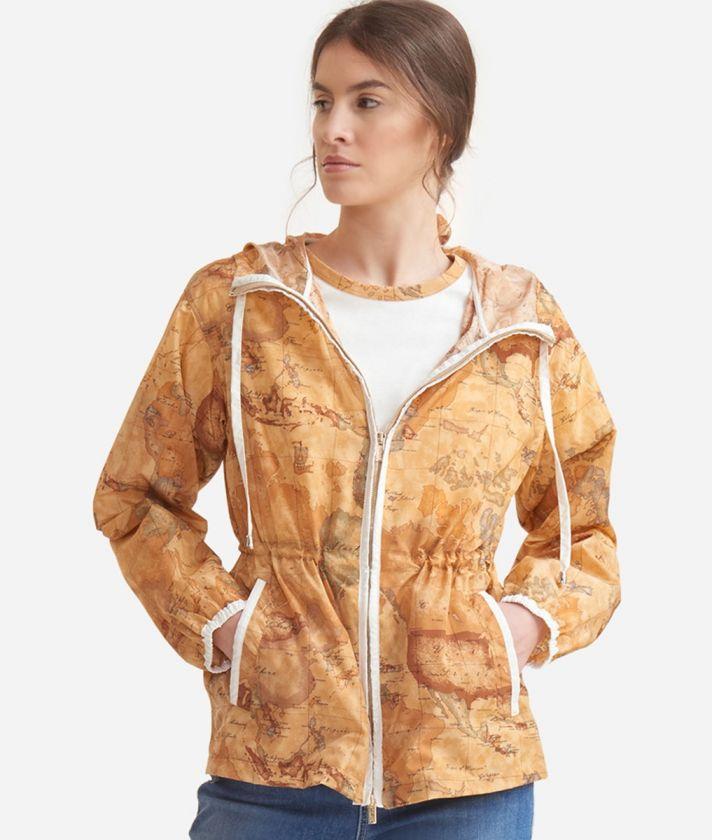 Jacket with hood in Geo Classic print nylon