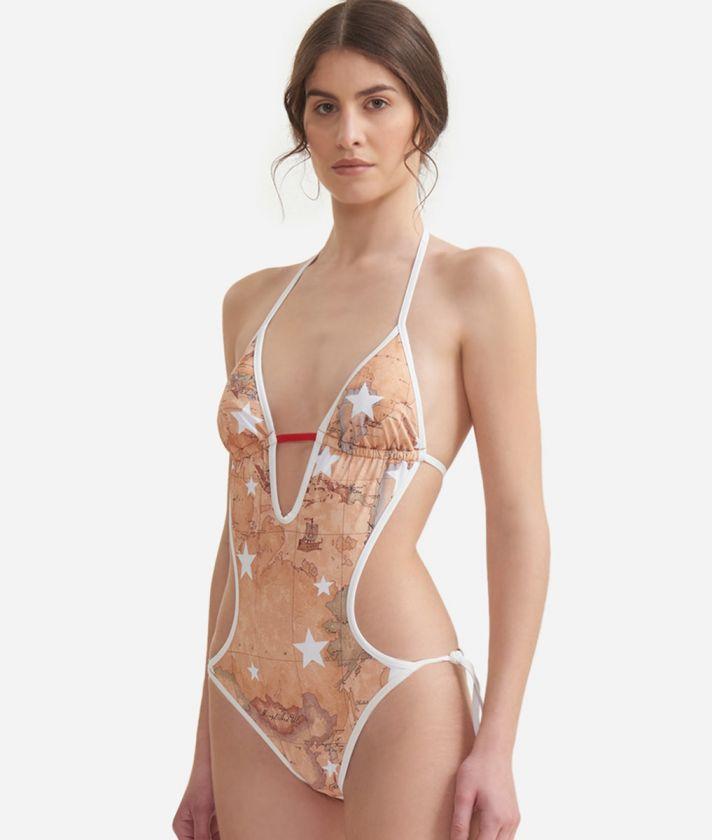 Trikini with Geo Classic print and stars overprint White