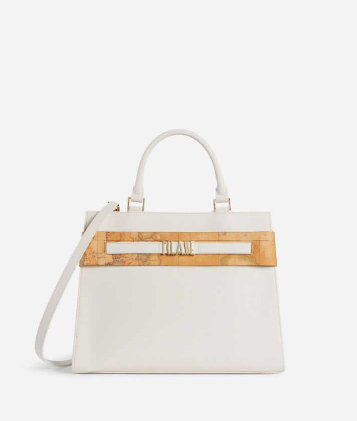 Stylish Bag Handbag in embossed saffiano pastel white
