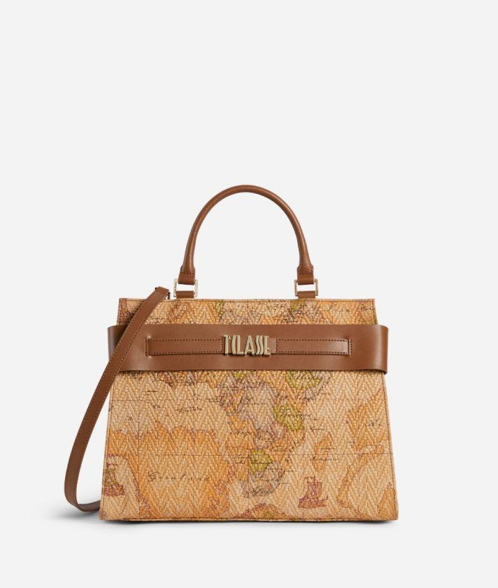 Stylish Bag Handbag in nappa leather Geo print