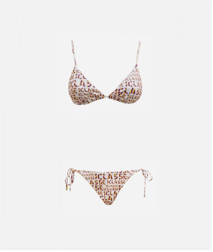 Logo Power Bikini triangle bra and briefs with laces all-over 1a Classe logo print White