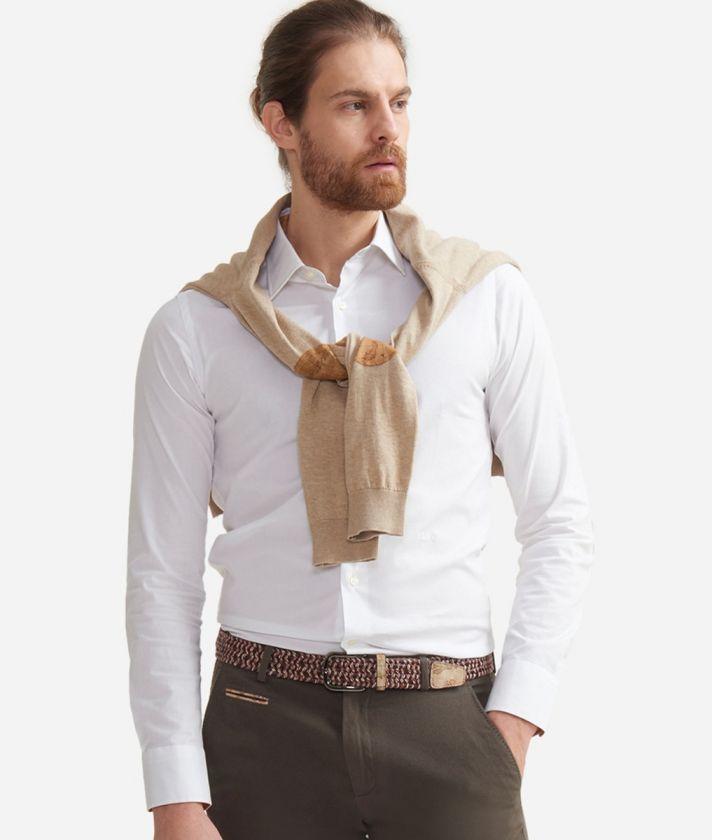Super slim fit shirt in misto cotone con toppe Geo Classic Bianco