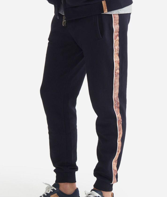 Pantalone jogging in felpa di cotone con coulisse Blu