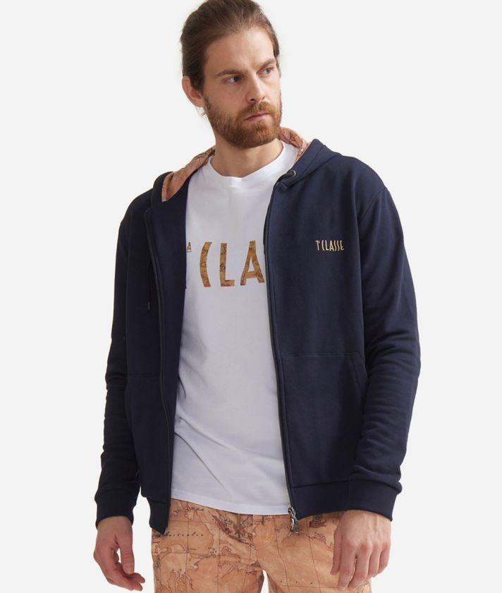 Sweatshirt with hood in fleece cotton Blue