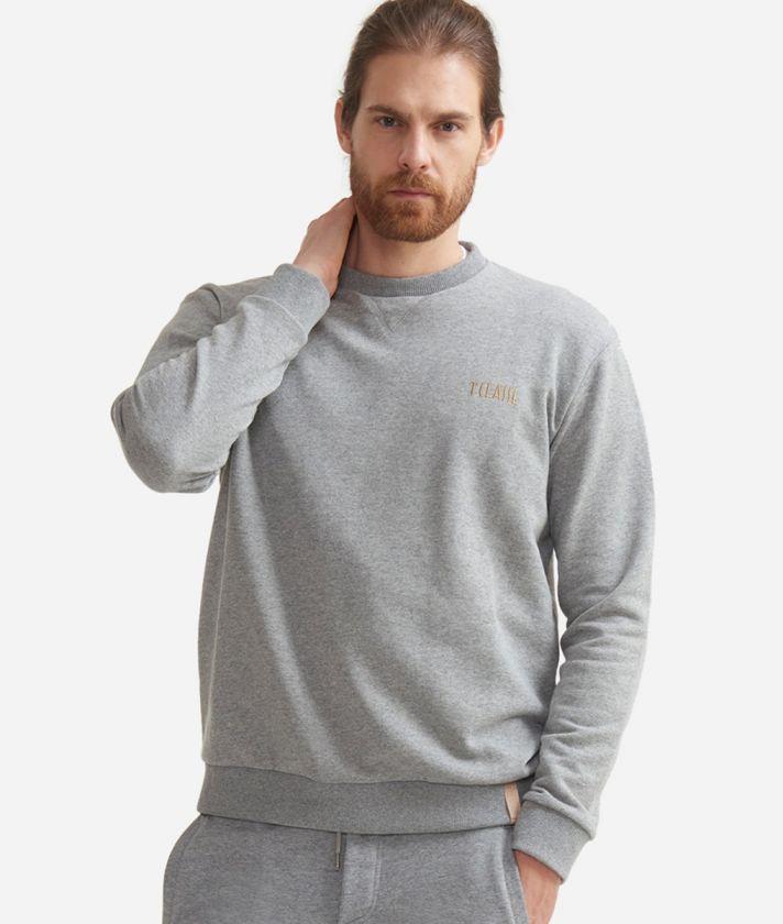 Crewneck sweatshirt in fleece cotton Grey