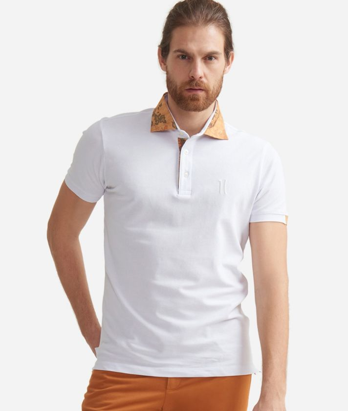 Short-sleeved polo shirt in cotton with 1C logo White
