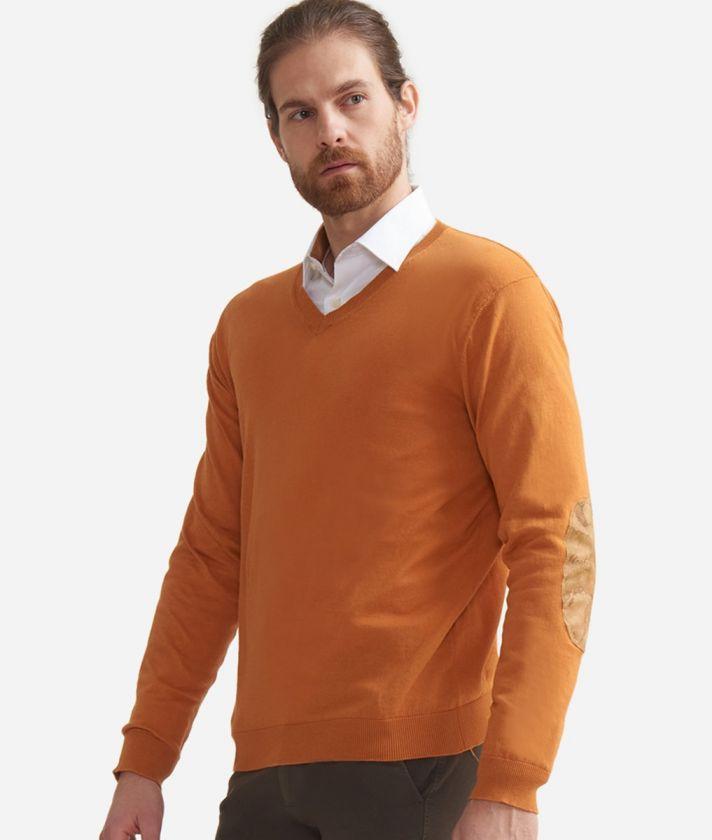 Maglia scollo a V con toppe Geo Classic in cotone Arancione