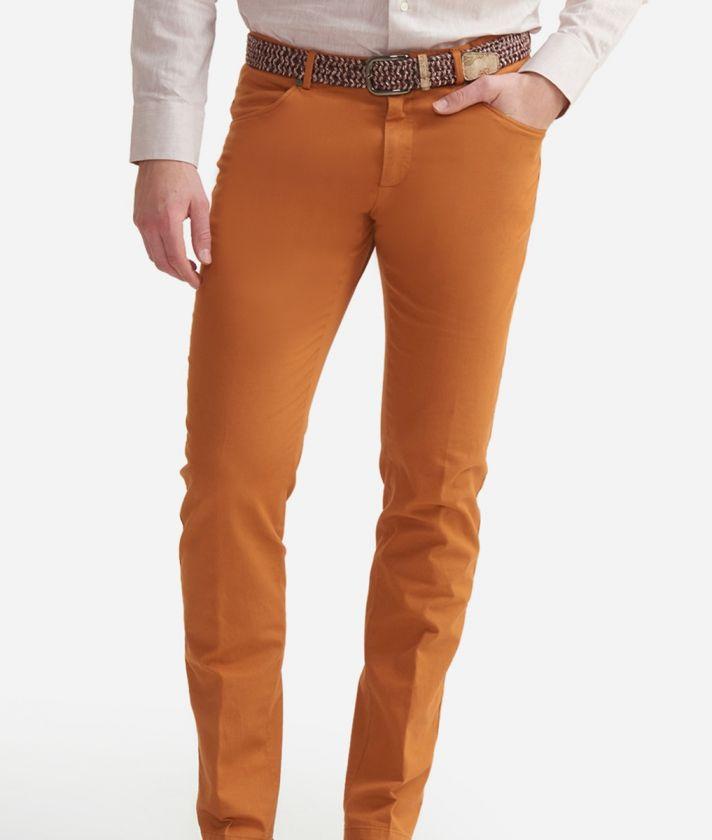 Pantalone 5-tasche slim fit in cotone Arancione