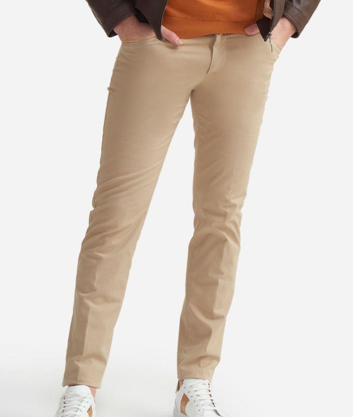 Pantalone 5-tasche slim fit in cotone Beige
