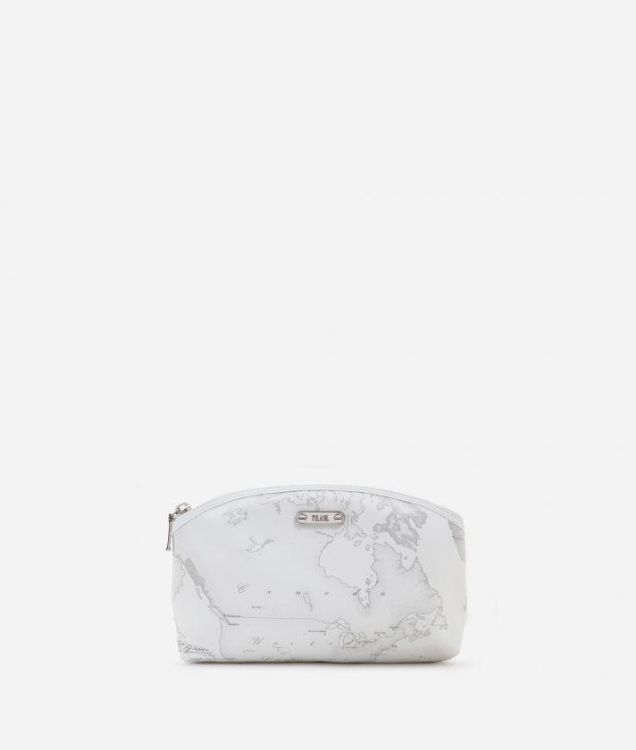 Medium beauty case in white rubberized fabric