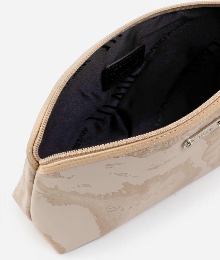 Medium beauty case in beige rubberized fabric