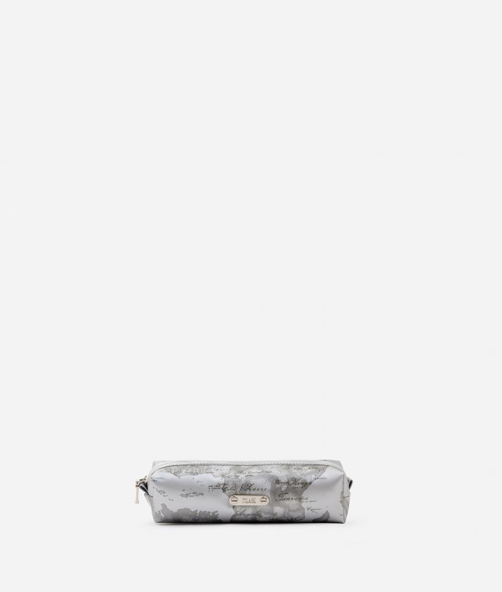 Travel pouch in pearl grey rubberized fabric